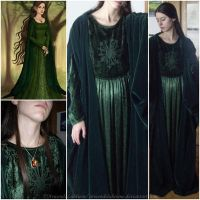 Elven cosplay - Green velvet dress IV by ArwendeLuhtiene