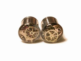 1/2 1 PAIR Single Flare Steampunk Tunnels Gauges by jewelryfx