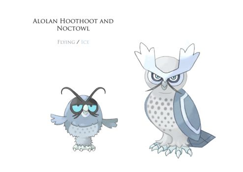 Alolan Hoothoot and Noctowl by JoshuaDunlop