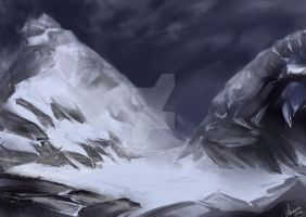 Snow on the mountains by MUSONART