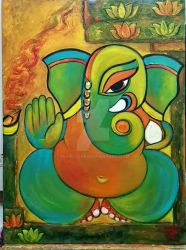 Ganesha with Lotus by manjulak