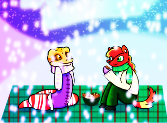 P-E : Winter | Cookie Picnic | Ace + Scarlet by SeleneTheWerewolf