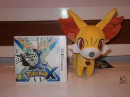 Autographed Pokemon X and Fennekin Pokedoll by Ishtar-Creations