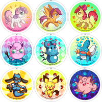 MLP - Pokemon buttons by Willow-San