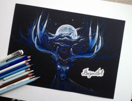 Night - deer drawing by Bajan-Art