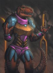 Term 11 - Anthro Rexy Armored by StriderDen