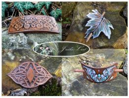 Leather hair barrettes by JankaLateckova