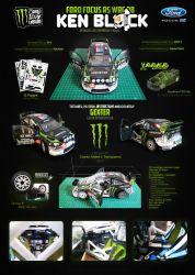 Ford Focus RS WRC 08 'K.Block' Papercraft Template by g3xter