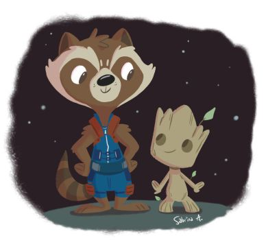 Rocket and Groot by Sibsy