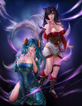 Sona and Ahri (collab commision) by KitsuneYin