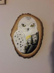 Hogwarts Wooden Plaque Painting by Tinalbion