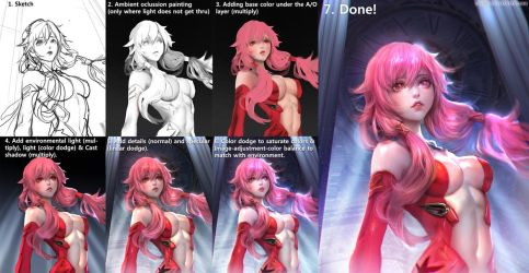 :: Inori - Ambient Occlusion Painting Process :: by Sangrde