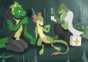 Three Lizards and an Alien Parasite by Ferroth