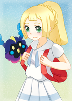 FA: Trainer Lillie And Nebby by AmiePC