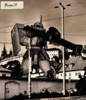 Zaku II in Prague 0079 by JDAtrocityExhibition