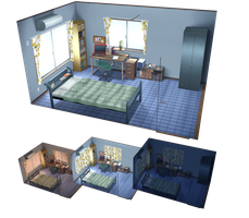 MMD Simple bedroom DL by kaahgome