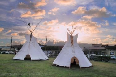 Teepees at Sunset, Front View by seraphinx