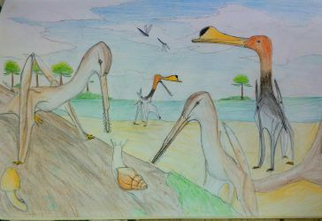 Snail with pterosaur by Tupandactyl