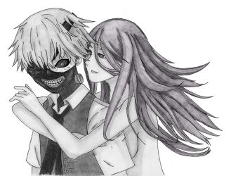 Tokyo Ghoul - Kaneki and Rize by CaptainGhostly