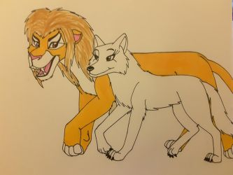 Lion King and Wolf Princess by Dragon-hobbit101