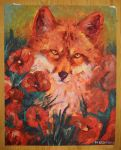 Fox in Poppies by Ritkat