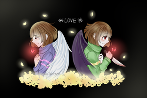 Frisk and Chara by Snow-Lantern