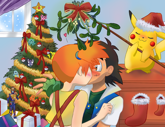[Commission] Under The Mistletoe by Cleopatrawolf