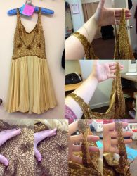 Restoration Work - Beaded Gold Dress by pinkythepink
