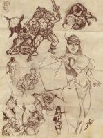 JAG - Labyrinths and lizards Characters!(sketches) by Team4Taken