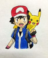 Ash and Pikachu by fourtharmour