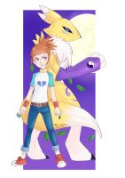 Makino Ruki and Renamon by July-MonMon