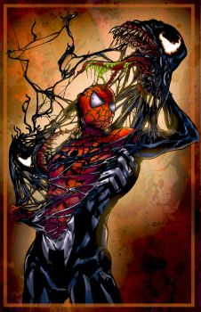 Spiderman vs. Venom - Colored by LadyOrange