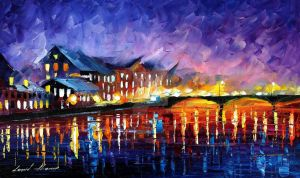 Sleepy bridge by Leonid Afremov by Leonidafremov