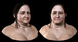 Old woman face by mojette