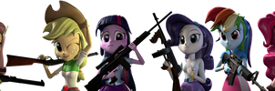 Equestria Girls With Guns by FluttzKrieg