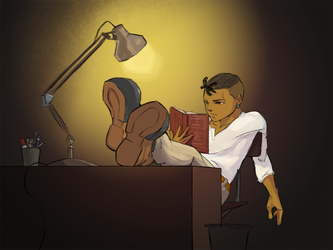 Reading At Desk Deviant by art-of-stroke