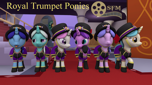 (DL)(SFM) The Royal Trumpet Ponies by Dracagon