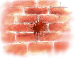 bloody brick wall by WhatIseeNotWhatiKnow