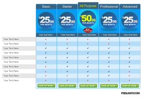 Pricing table psd by psdlight