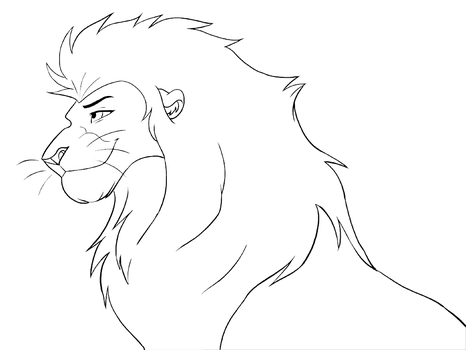 Free lineart -head male lion by Malaika4