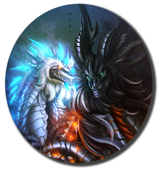 Malygos and Neltharion by Ghostwalker2061
