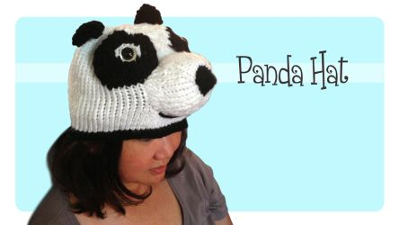 Mom wearing Knitted Panda Hat Beanie by AmareeLis