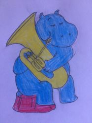 Helens Mom playing the Tuba by puffedcheekedblower