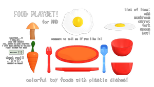 [mmd DL] toy food playset! [tysm 100+ watchers!!] by kawaii-noodle-boy