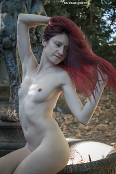 RedClo nude near a ruined fountain 04 by Darthsandr