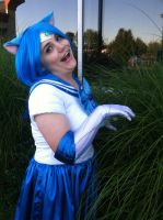 Saikoucon 2013 Sailor Mewcury playing with grass by VocaloidBrit