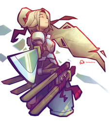 a girl with swords by SentientLine