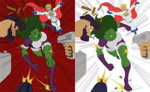 She-Hulk and Power Girl Flats by Thesslian