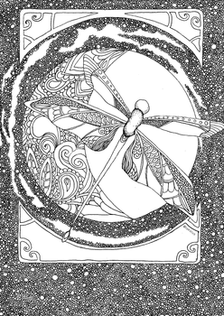 Zentangle dragonfly and the moon by Tekslus