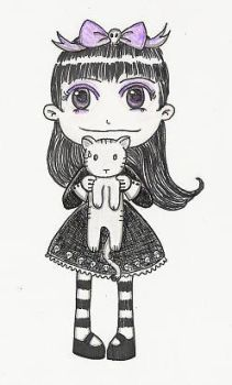 Goth girl and kitty by witchyart